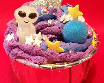 Glow in the Dark Alien in Space Bath Bomb with Whipped Soap Frosting