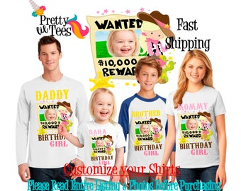 COWGIRL with your child's PICTURE Birthday Girl Theme Family WHITE Shirts For the Entire Family Mom Dad Brother and More T-shirt Cow Girl