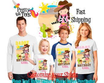 COWGIRL Birthday Girl Theme Family WHITE Shirts For the Entire Family Mom Dad Brother and More T-shirts Long/ Short sleeve horse Ranch