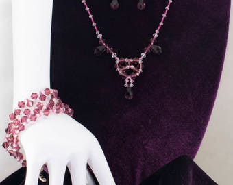 Geometric Purple beaded necklace with earrings and bracelet