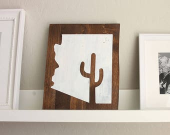 Arizona Sign | Cactus Sign | Wood Signs | AZ | Cactus | Gift | Home Decor | Rustic | Home | Gallery Wall Sign