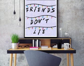Stranger Things inspired alternative poster  , friends don't lie, eleven, the upside down, stranger things gift, stranger things art