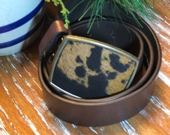 Handcrafted Cowhide Belt Buckle with Genuine Leather Belt