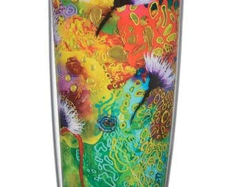 "Insulated tumbler-16oz-with travel lid-by Moojoi-Artist Signature Series-""Tess"" Green"