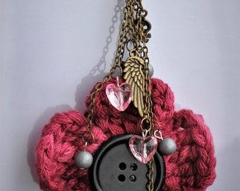 Crochet flower bag charm / keychain