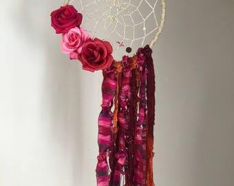 Boho Valentine's Day Dreamcatcher, Rose Dreamcatcher, Red dreamcatcher