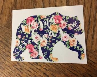 Navy floral mama bear vinyl decal