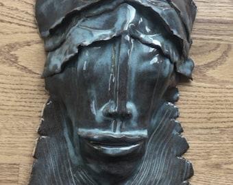 Veils | Ceramic Sculpture | Ceramic Wall Hanging | Ceramic Wall Art | Sculpture Art | Pottery Sculpture | Face Sculpture | Office Art