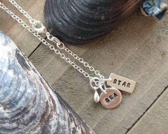 """Hand stamped Sterling Silver """" Sea Star """" necklace and charms"""