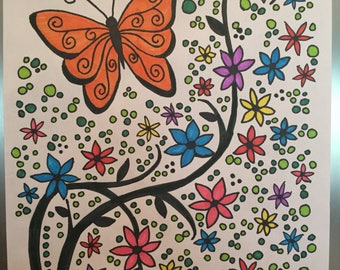 Butterfly Flowers / Savings Tracker / Debt Payoff Tracker / Fitness Tracker / Goal Coloring Sheet