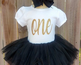 Trendy Black and Gold Custom First Second Third Birthday Tutu Outfit Free Personalization