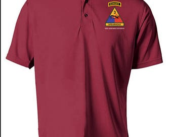 3rd Armored Division w/ Ranger Tab Embroidered Moisture Wick Polo Shirt -3542