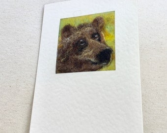 Needle felted greetings card - brown grizzly bear