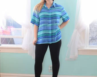 80s Plus Size Shirt | Blue and Green Striped Top | XXLarge XXL Plus Size 20 2X