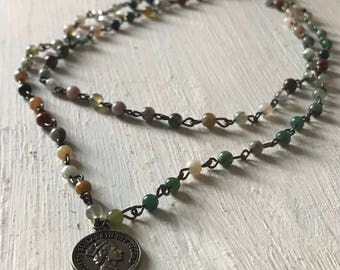 Double Wrap Stone Coin Necklace