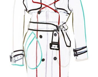 Special order! Long Womans Transparent Vinyl Trench Coat. Multicolor trim. Ladies Clear Raincoat. Waterproof Woman's Jacket! Free Shipping