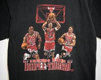 Vintage Nutmeg Chicago Bulls Triple Threat T-Shirt