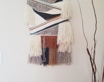 Woven Wall Hanging/Woven Wall Tapestry Weaving/ Turquoise, White Wall Decor NEW