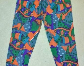 Vintage Bright Colorful Abstract Geometric Print Rayon Pants Size Small
