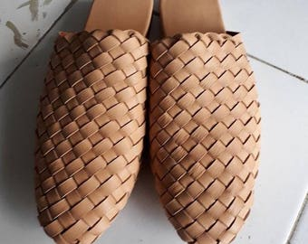 Mens Leather Loafers Leather Mules Woven Leather Shoes Men