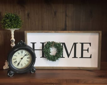Home with Wreath Sign, Home Sign Printable, Farmhouse Sign, Rustic Sign, Instant Download, Home Decor, DIY, Make it Yourself