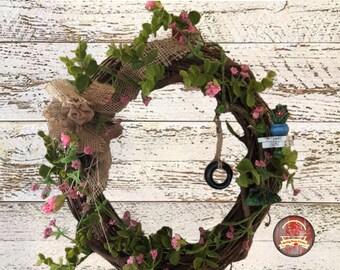 Farmhouse Cherry Blossom Tire Swing Wreath. Spring Rose Farms,grapevine,Cherry Blossom,spring,farmhouse decor,wreath,cherry tree,Easter,