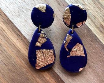 Navy + gold dangle earrings