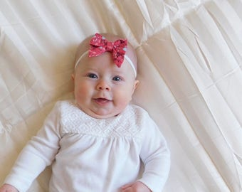Coral/floral baby girl sailor bow