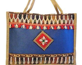 Handicraftsvilla Embroidered Jute Handbag
