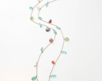 Long necklace of silver with precious stones and chrysoprase drops