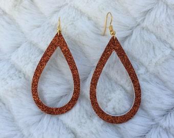 Burnt Orange Glitter Teardrop Earrings