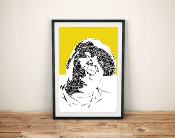 Notorious B.I.G Unique Contemporary Geometric Art print in yellow size A4 or A3
