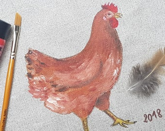 Acrylic painting of hens on natural linen - Dogfish
