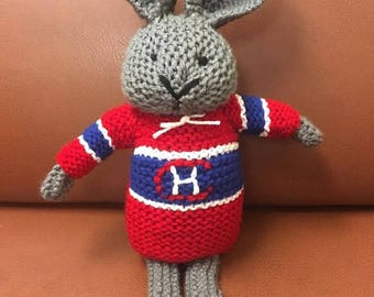 Hand knit Montreal Canadiens bunny