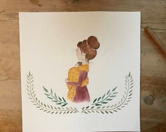 New mom watercolor (redhead)