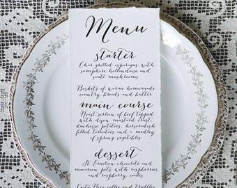 Calligraphy Script 2 Wedding Menu Printable Template