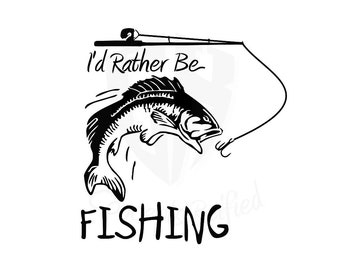 I'd Rather Be Fishing Vinyl Decal - Multiple Sizes and Colors