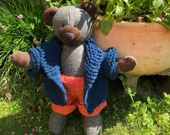Classic Patchwork Teddy Bear, With clothes