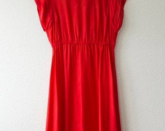 ankle length red 70's dress