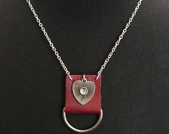 Red leather and heart necklace