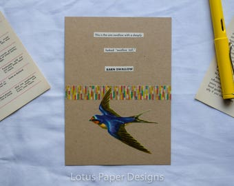 Handmade Blank Greeting Card (Flat A6) - Barn Swallow - Golden Guide to BIRDS