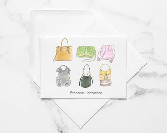 Designer Hand Bags, Personalized Note Cards, Fashion Gift, Fashion Note Cards, Note Cards Personalized, Notecards 10 Pack, Fashion Cards