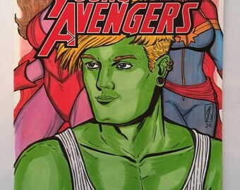 AVENGERS SKETCH COVER Young Avengers Issue #1 Original Art Variant Hulkling Scarlet Witch Captain Marvel Full Colour Unique Comic Edition