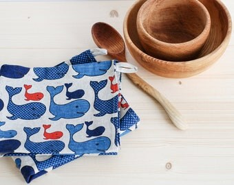 Whale kitchen towel, fish tea towel, linen towel, linen kitchen towel, whales tea towels, bridal gift, shower hostess gift