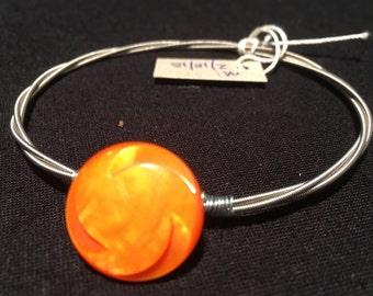 8 - Unique guitar strings bracelet with vintage buttons