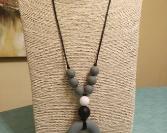 Teething- Gray black, and white BPA free silicone teething necklace