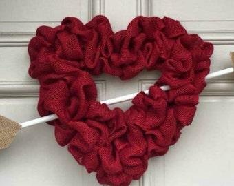 Valentine Heart Burlap Wreath