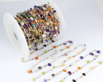Multi Gemstone Rosary Beaded Chains, Multi Gemstone Faceted Beads In 925 Silver Wire Wrapped Rosary Style Link Chains, Chain by Foots