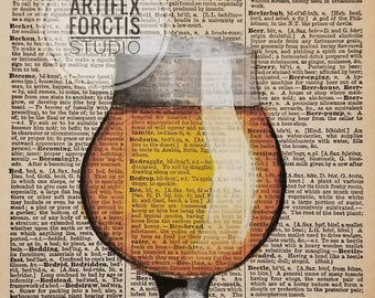 Print: Antique Dictionary Art 'Beer' Watercolor Painting