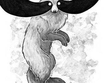 Masked One - Inktober Print - Tanuki / Raccoon Dog